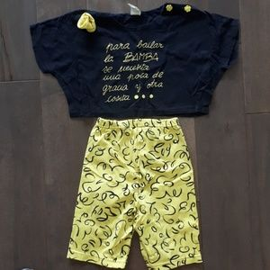 Other - Black and Yellow Crop Top and Shorts